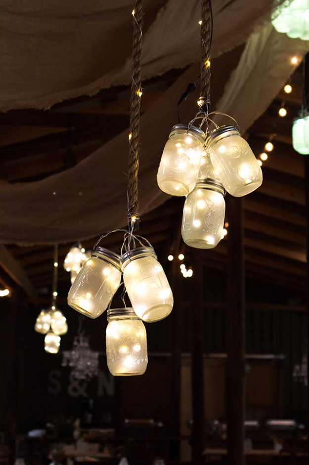 Mason Jar Lights - LED Mason Jar Lights - DIY Ideas with Mason Jars for Outdoor, Kitchen, Bathroom, Bedroom and Home, Wedding. How to Make Hanging Lanterns, Rustic Chandeliers and Pendants, Solar Lights for Outside http://diyjoy.com/diy-mason-jar-lights-lanterns