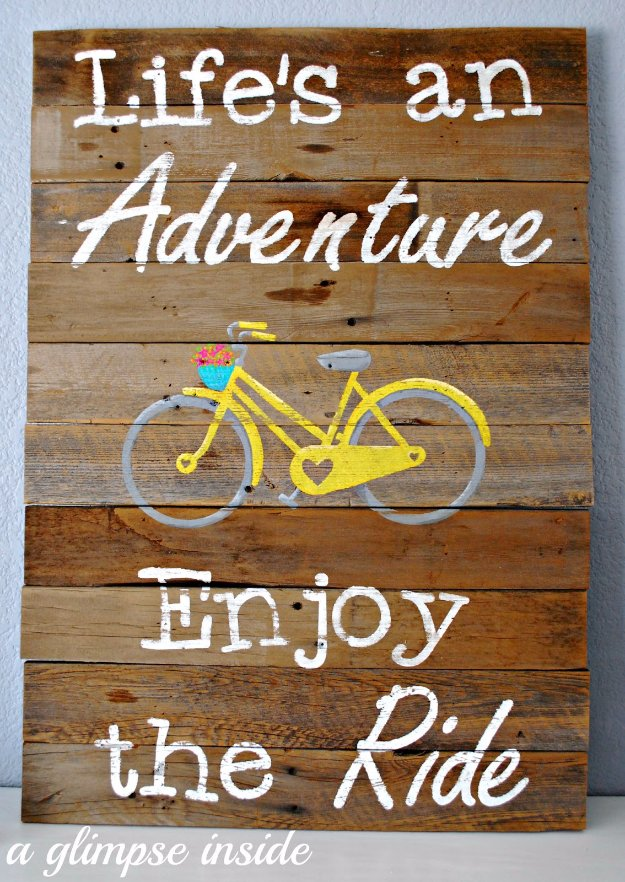 DIY Pallet sign Ideas -Life's an Adventure Pallet Sign - Upcycled Pallet Art Cool Homemade Wall Art Ideas and Pallet Signs for Bedroom, Living Room, Patio and Porch. Creative Rustic Decor Ideas on A Budget