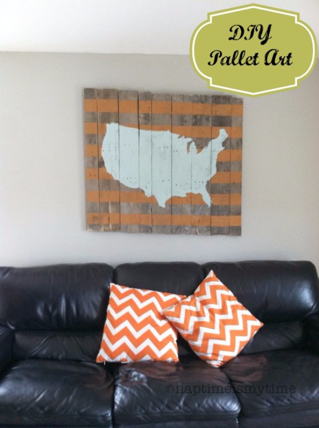 DIY Pallet sign Ideas - Map of the USA Wood Pallet Art - Upcycled Pallet Art Cool Homemade Wall Art Ideas and Pallet Signs for Bedroom, Living Room, Patio and Porch. Creative Rustic Decor Ideas on A Budget