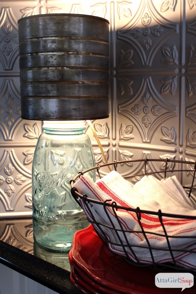 Mason Jar Lights - Mason Jar Lamp with Faux Zinc Shade - DIY Ideas with Mason Jars for Outdoor, Kitchen, Bathroom, Bedroom and Home, Wedding. How to Make Hanging Lanterns, Rustic Chandeliers and Pendants, Solar Lights for Outside http://diyjoy.com/diy-mason-jar-lights-lanterns