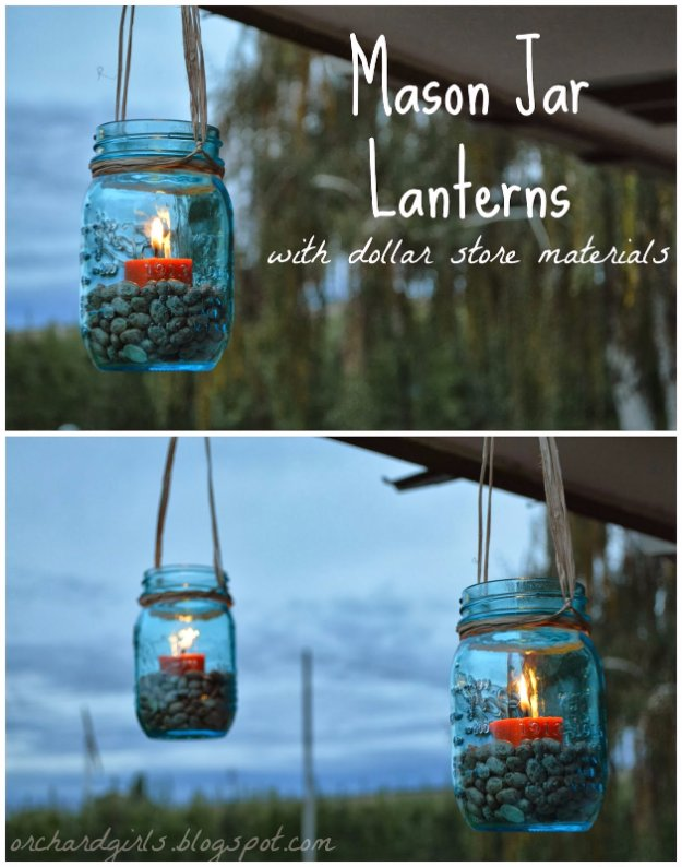 DIY Ideas to Get Your Backyard Ready for Summer - Mason Jar Lanterns - Cool Ideas for the Yard This Summer. Furniture, Games and Fun Outdoor Decor both Adults and Kids Will Enjoy