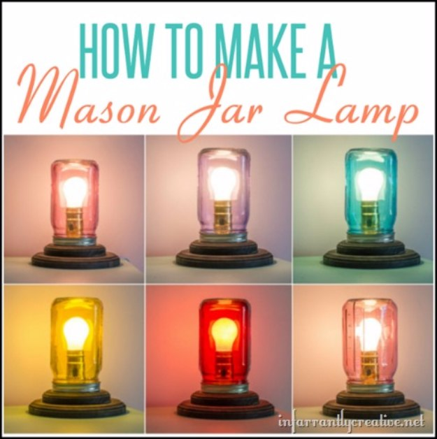 Mason Jar Lights - Mason Jar Table Lamp - DIY Ideas with Mason Jars for Outdoor, Kitchen, Bathroom, Bedroom and Home, Wedding. How to Make Hanging Lanterns, Rustic Chandeliers and Pendants, Solar Lights for Outside http://diyjoy.com/diy-mason-jar-lights-lanterns