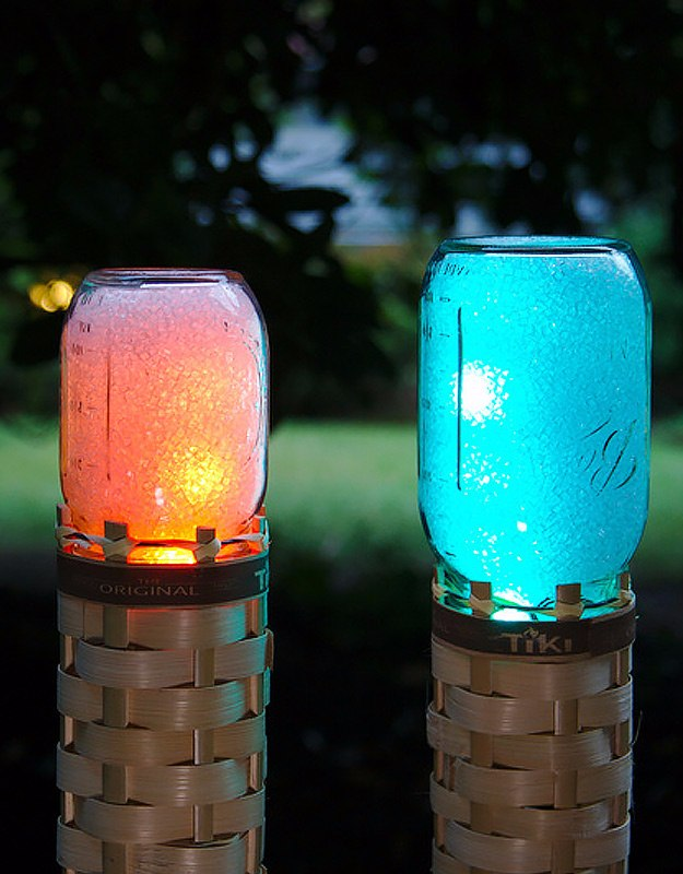 Mason Jar Lights - Mason Jar Techno Tiki Torch - DIY Ideas with Mason Jars for Outdoor, Kitchen, Bathroom, Bedroom and Home, Wedding. How to Make Hanging Lanterns, Rustic Chandeliers and Pendants, Solar Lights for Outside