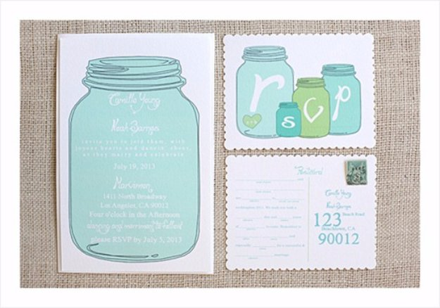 DIY Wedding Invitiations - Mason Jar Wedding Invitations - Templates, Free Printables and Wording | Tutorials for Unique, Rustic, Elegant and Vintage Homemade Invites #weddinginvitations #diyweddings