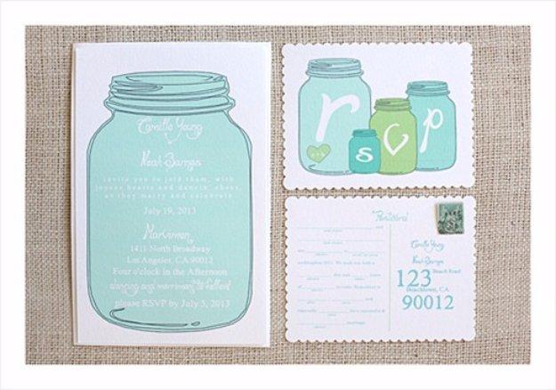 DIY Wedding Invitiations - Mason Jar Wedding Invitations - Templates, Free Printables and Wording   Tutorials for Unique, Rustic, Elegant and Vintage Homemade Invites #weddinginvitations #diyweddings
