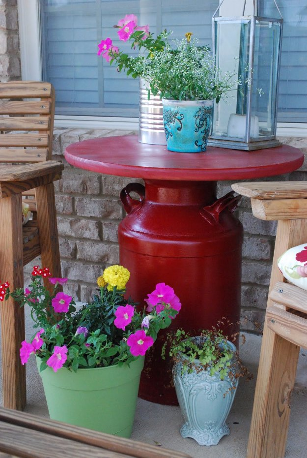 DIY Porch and Patio Ideas - Milk Can Table - Decor Projects and Furniture Tutorials You Can Build for the Outdoors -Swings, Bench, Cushions, Chairs, Daybeds and Pallet Signs