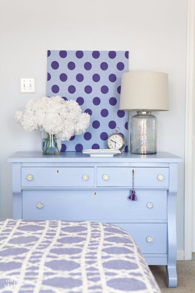 DIY Chalk Paint Furniture Ideas With Step By Step Tutorials - Modern Periwinkle Blue Dresser - How To Make Distressed Furniture for Creative Home Decor Projects on A Budget - Perfect for Vintage Kitchen, Dining Room, Bedroom, Bath http://diyjoy.com/chalk-paint-furniture-ideas