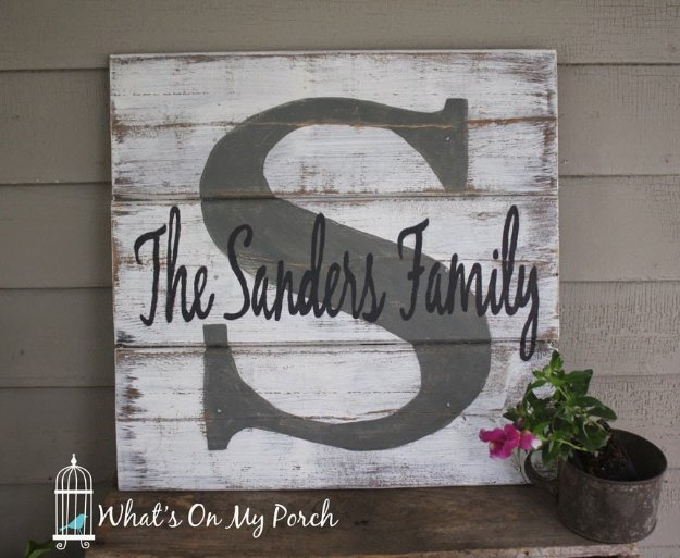 DIY Pallet sign Ideas - Monogram Pallet Family Name Sign - Upcycled Pallet Art Cool Homemade Wall Art Ideas and Pallet Signs for Bedroom, Living Room, Patio and Porch. Creative Rustic Decor Ideas on A Budget