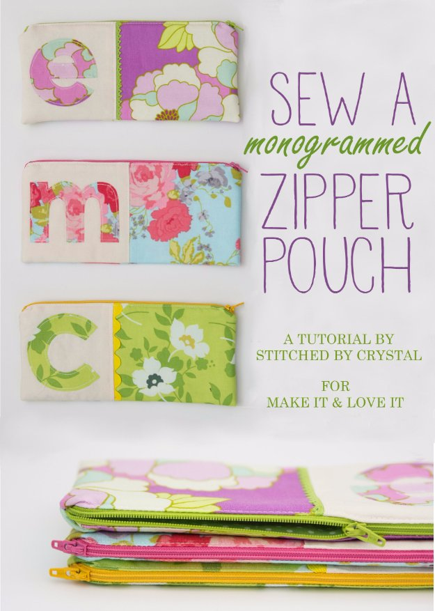 Cool Crafts You Can Make With Fabric Scraps - Monogrammed Zipper Pouch - Creative DIY Sewing Projects and Things to Do With Leftover Fabric Scrap Crafts #sewing #fabric #crafts