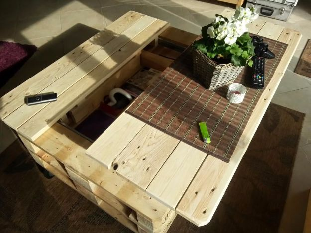 DIY Pallet Furniture Ideas - Multifunction Coffe Table With Storage, Slide Out And Lift - Best Do It Yourself Projects Made With Wooden Pallets - Indoor and Outdoor, Bedroom, Living Room, Patio. Coffee Table, Couch, Dining Tables, Shelves, Racks and Benches