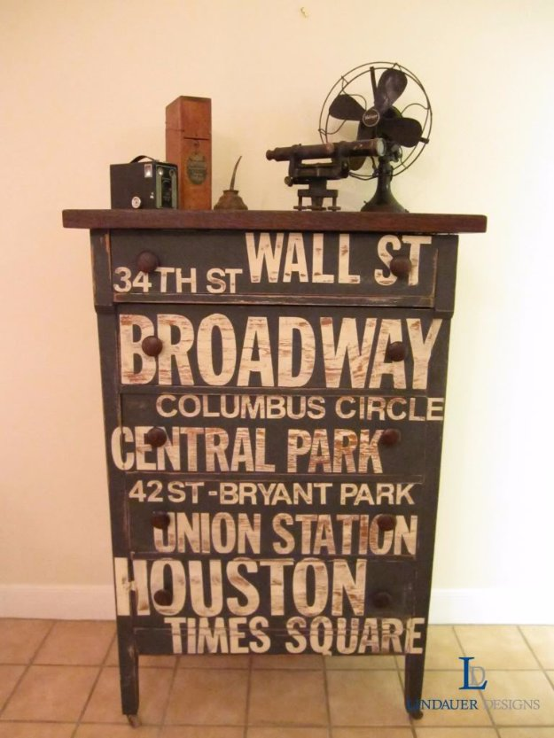 DIY Chalk Paint Furniture Ideas With Step By Step Tutorials - NYC Subway Sign Dresser - How To Make Distressed Furniture for Creative Home Decor Projects on A Budget - Perfect for Vintage Kitchen, Dining Room, Bedroom, Bath #diyideas #diyfurniture