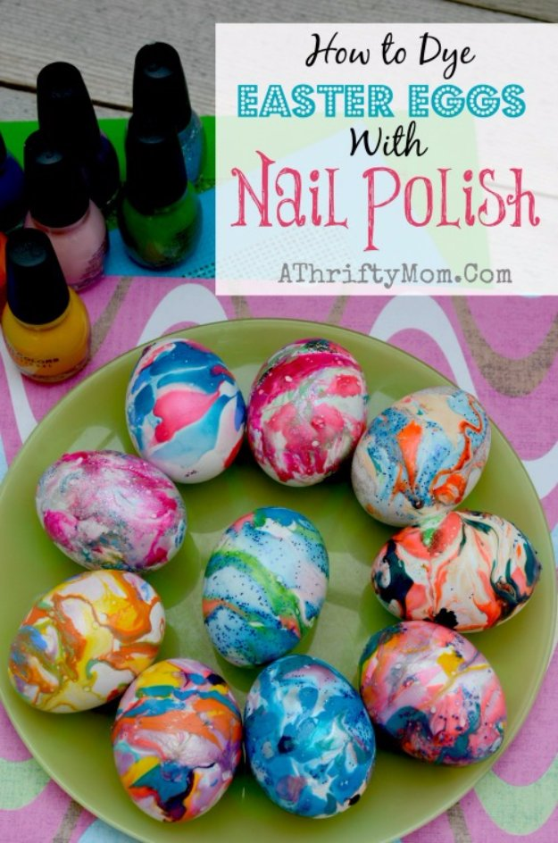 Easter Egg Decorating Ideas - Nail Polish Swirl Easter Eggs - Creative Egg Dye Tutorials and Tips - DIY Easter Egg Projects for Kids and Adults