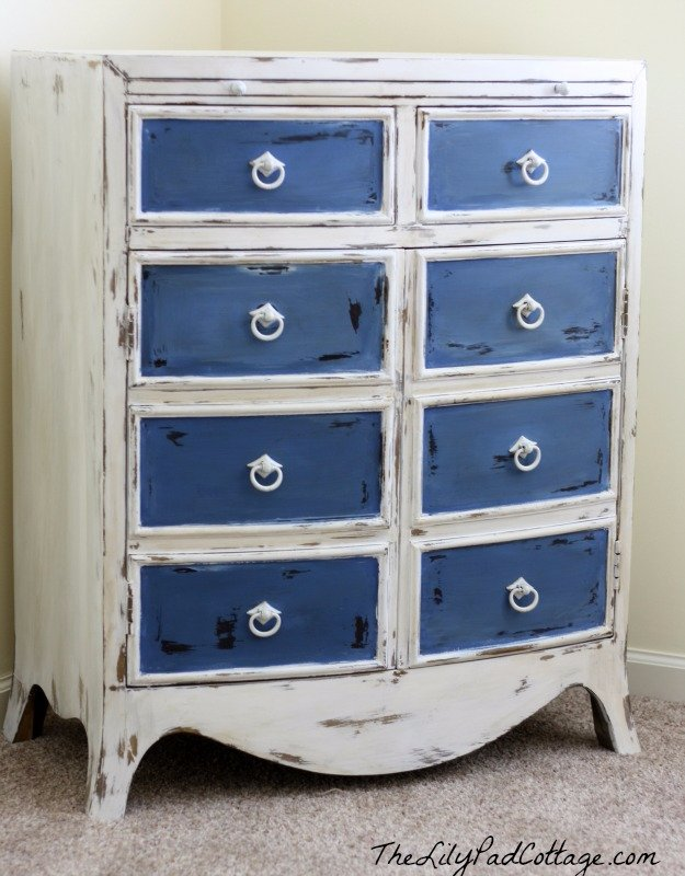 DIY Chalk Paint Furniture Ideas With Step By Step Tutorials - Napoleonic Blue White Framed Drawers - How To Make Distressed Furniture for Creative Home Decor Projects on A Budget - Perfect for Vintage Kitchen, Dining Room, Bedroom, Bath #diyideas #diyfurniture