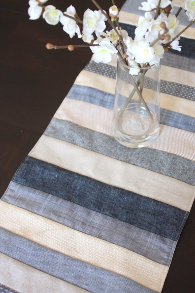 Easy Sewing Projects to Sell - Neutral Denim, Linens and Chambrays Table Runner - DIY Sewing Ideas for Your Craft Business. Make Money with these Simple Gift Ideas, Free Patterns #sewing #crafts