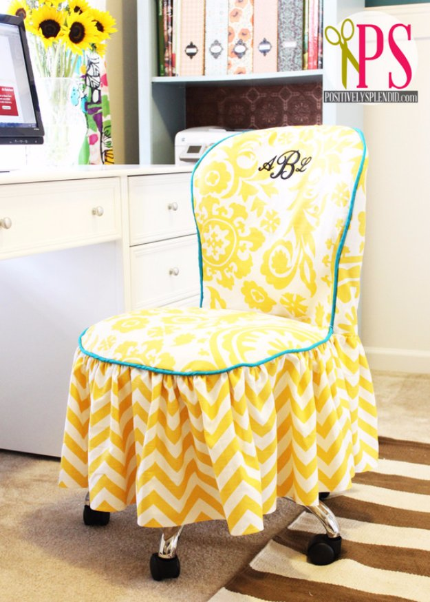DIY Sewing Gift Ideas for Adults and Kids, Teens, Women, Men and Baby - Office Chair Slipcover - Cute and Easy DIY Sewing Projects Make Awesome Presents for Mom, Dad, Husband, Boyfriend, Children #sewing #diygifts #sewingprojects