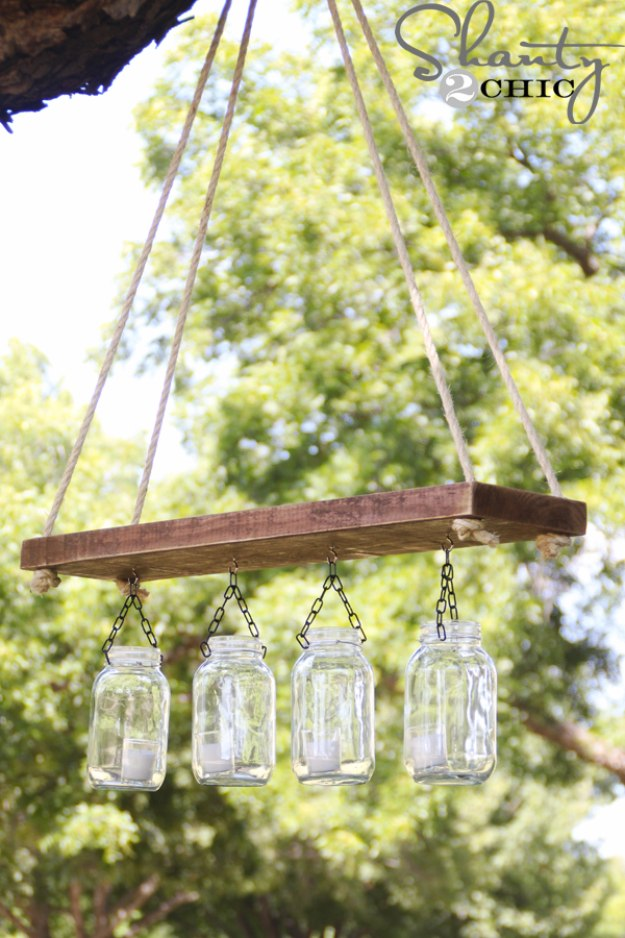 Mason Jar Lights - Outdoor Mason Jar Chandelier - DIY Ideas with Mason Jars for Outdoor, Kitchen, Bathroom, Bedroom and Home, Wedding. How to Make Hanging Lanterns, Rustic Chandeliers and Pendants, Solar Lights for Outside