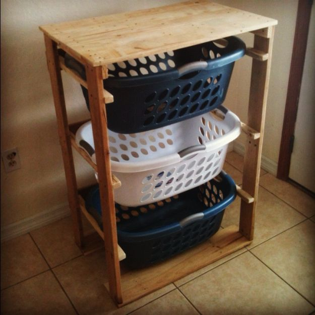 DIY Pallet Furniture Ideas - Pallet Laundry Basket Dresser - Best Do It Yourself Projects Made With Wooden Pallets - Indoor and Outdoor, Bedroom, Living Room, Patio. Coffee Table, Couch, Dining Tables, Shelves, Racks and Benches