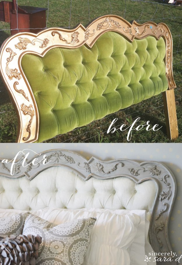 DIY Chalk Paint Furniture Ideas With Step By Step Tutorials - Paris Gray Chalk Paint Headboard - How To Make Distressed Furniture for Creative Home Decor Projects on A Budget - Perfect for Vintage Kitchen, Dining Room, Bedroom, Bath #diyideas #diyfurniture