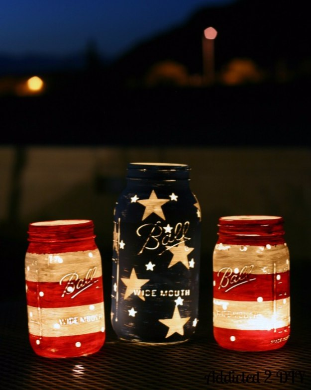 Mason Jar Lights - Patriotic Mason Jar Lanterns - DIY Ideas with Mason Jars for Outdoor, Kitchen, Bathroom, Bedroom and Home, Wedding. How to Make Hanging Lanterns, Rustic Chandeliers and Pendants, Solar Lights for Outside
