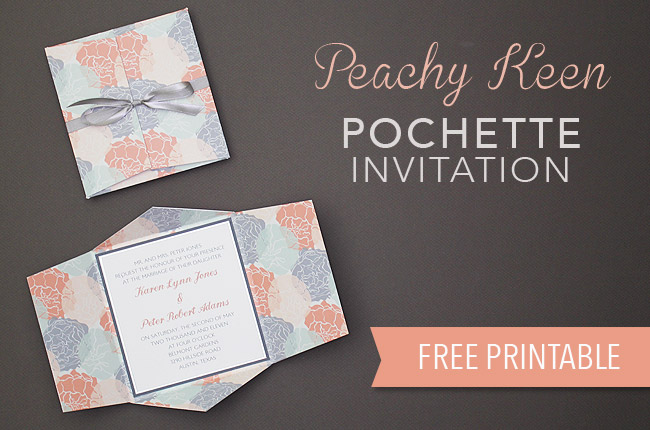 DIY Wedding Invitiations - Peachy Keen Pochette Wedding Invitations - Templates, Free Printables and Wording | Tutorials for Unique, Rustic, Elegant and Vintage Homemade Invites #weddinginvitations #diyweddings