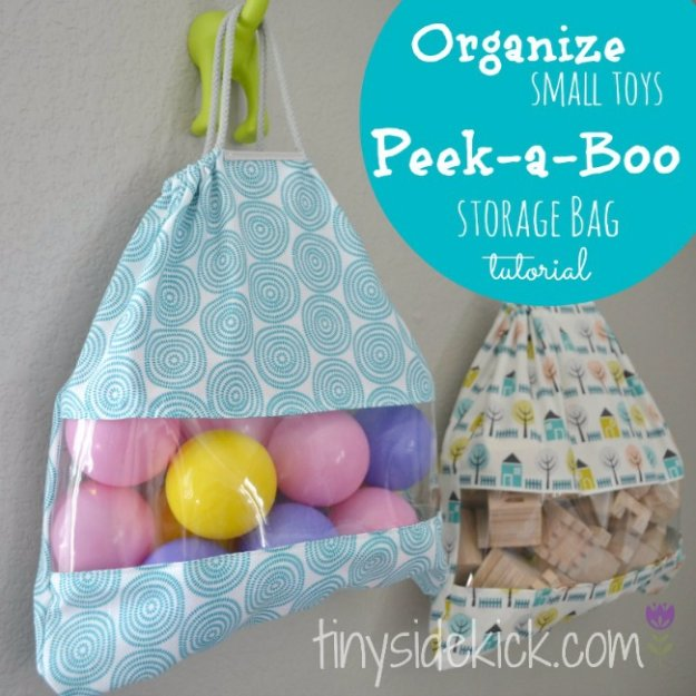 Easy Sewing Projects to Sell - Peek-a-Boo Toy storage Bags - DIY Sewing Ideas for Your Craft Business. Make Money with these Simple Gift Ideas, Free Patterns #sewing #crafts