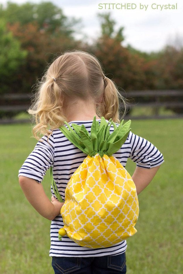 Easy Sewing Projects to Sell - Pineapple Drawstring Backpack - DIY Sewing Ideas for Your Craft Business. Make Money with these Simple Gift Ideas, Free Patterns #sewing #crafts
