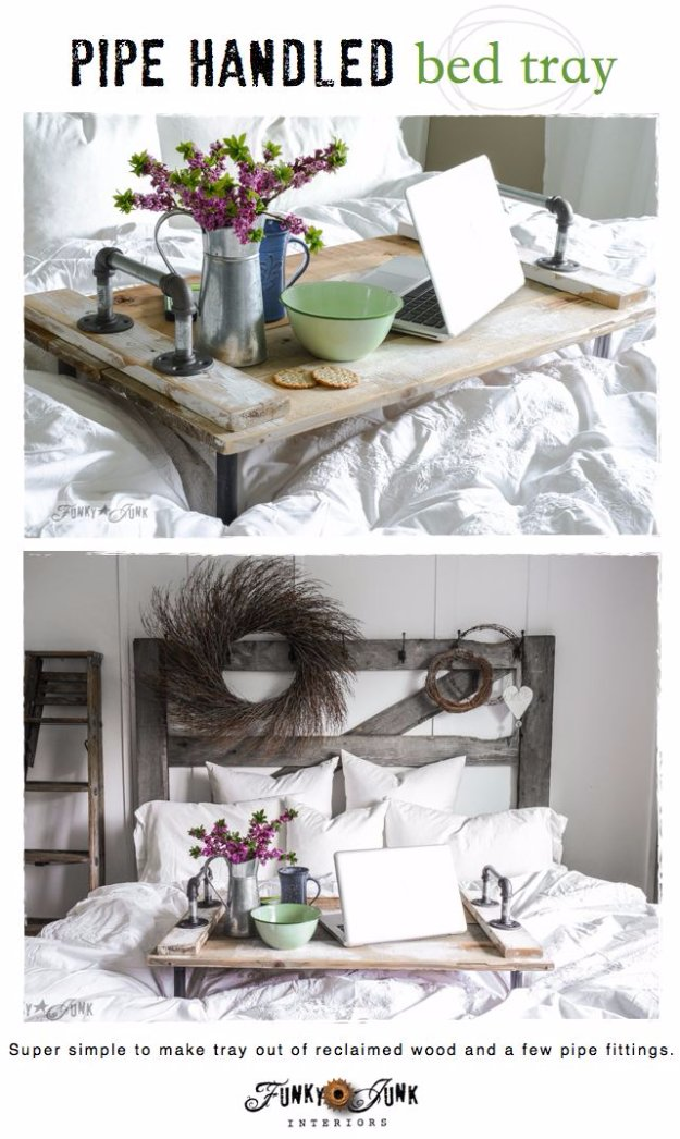 Brilliant DIY Decor Ideas for The Bedroom - Pipe Handled Bed Tray - Rustic and Vintage Decorating Projects for Bedroom Furniture, Bedding, Wall Art, Headboards, Rugs, Tables and Accessories. Tutorials and Step By Step Instructions