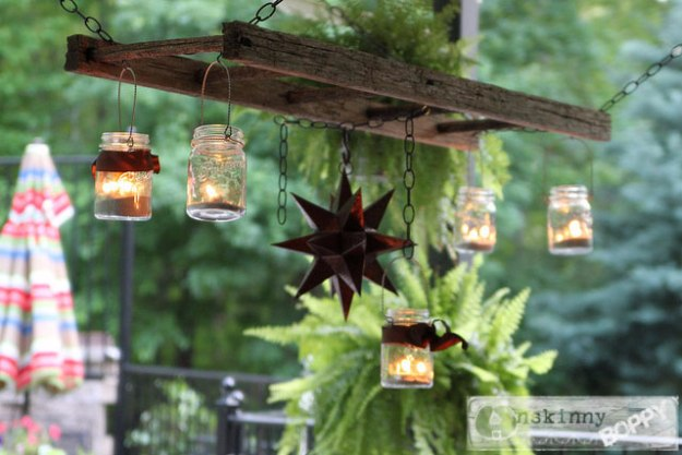 Mason Jar Lights - Pottery Barn Inspired Ladder Lantern Hanger - DIY Ideas with Mason Jars for Outdoor, Kitchen, Bathroom, Bedroom and Home, Wedding. How to Make Hanging Lanterns, Rustic Chandeliers and Pendants, Solar Lights for Outside http://diyjoy.com/diy-mason-jar-lights-lanterns