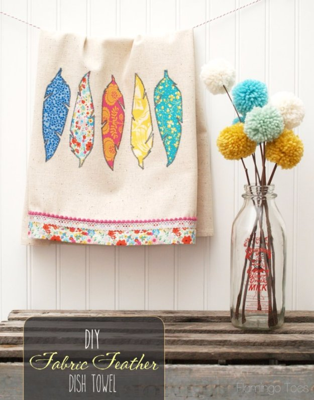 Easy Sewing Projects to Sell - Pretty DIY Fabric Feathers Dishtowel - DIY Sewing Ideas for Your Craft Business. Make Money with these Simple Gift Ideas, Free Patterns #sewing #crafts