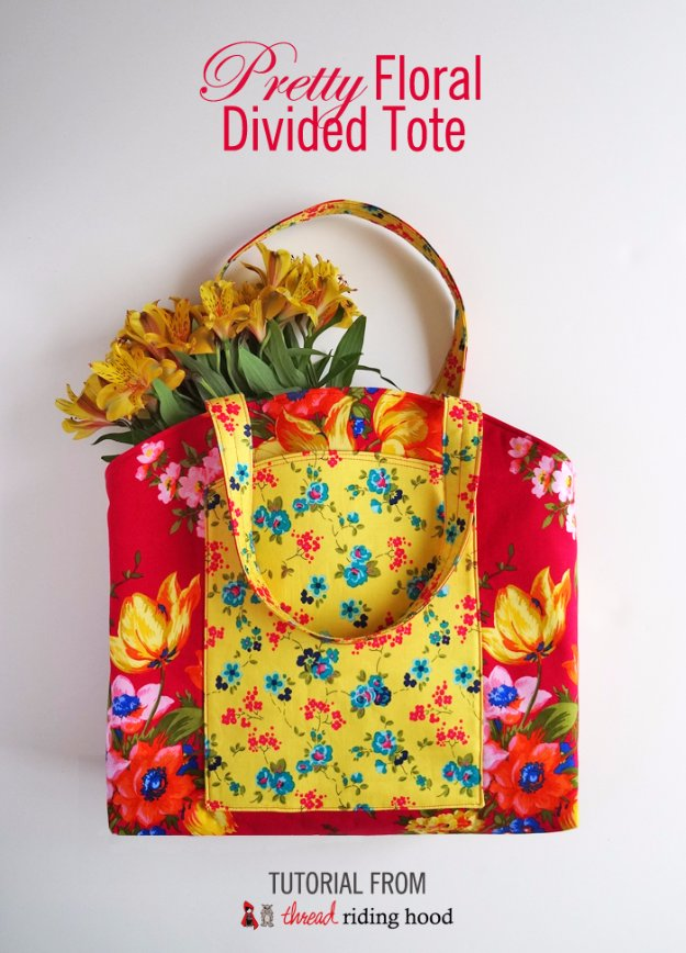 Easy Sewing Projects to Sell - Pretty Floral Divided Tote - DIY Sewing Ideas for Your Craft Business. Make Money with these Simple Gift Ideas, Free Patterns #sewing #crafts