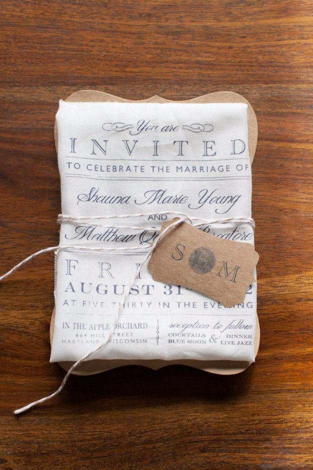 DIY Wedding Invitiations - Print on Cloth Wedding Invite Design Idea - Templates, Free Printables and Wording | Tutorials for Unique, Rustic, Elegant and Vintage Homemade Invites #weddinginvitations #diyweddings