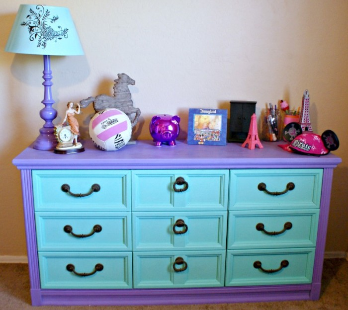DIY Chalk Paint Furniture Ideas With Step By Step Tutorials - Purple and Mint Chalkpaint Drawers - How To Make Distressed Furniture for Creative Home Decor Projects on A Budget - Perfect for Vintage Kitchen, Dining Room, Bedroom, Bath #diyideas #diyfurniture