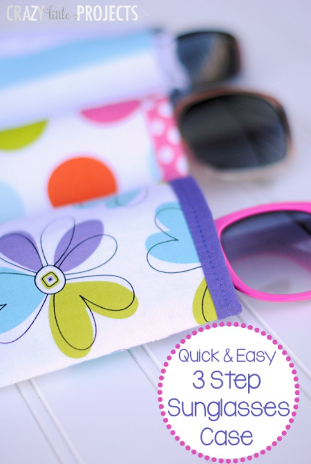Cool Crafts You Can Make With Fabric Scraps - Quick-Easy Sunglasses Case From Fabric Scrap - Creative DIY Sewing Projects and Things to Do With Leftover Fabric Scrap Crafts #sewing #fabric #crafts