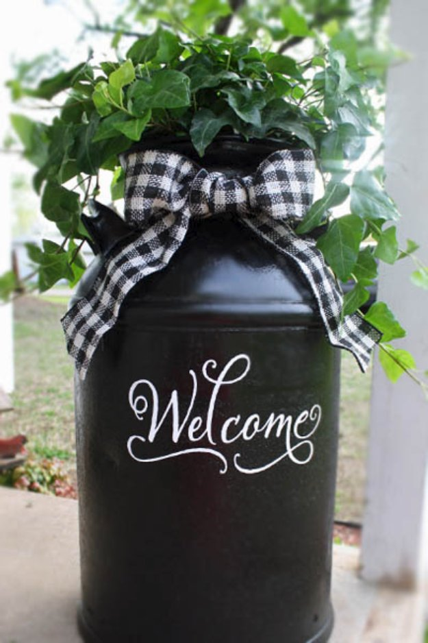 DIY Porch and Patio Ideas - Recycled Milk Can - Decor Projects and Furniture Tutorials You Can Build for the Outdoors -Swings, Bench, Cushions, Chairs, Daybeds and Pallet Signs