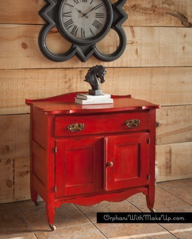 DIY Chalk Paint Furniture Ideas With Step By Step Tutorials - Red Antique Wash Stand - How To Make Distressed Furniture for Creative Home Decor Projects on A Budget - Perfect for Vintage Kitchen, Dining Room, Bedroom, Bath #diyideas #diyfurniture