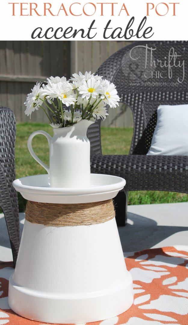 DIY Porch and Patio Ideas - Repurposed Terracotta Pot Into Accent Table - Decor Projects and Furniture Tutorials You Can Build for the Outdoors -Swings, Bench, Cushions, Chairs, Daybeds and Pallet Signs