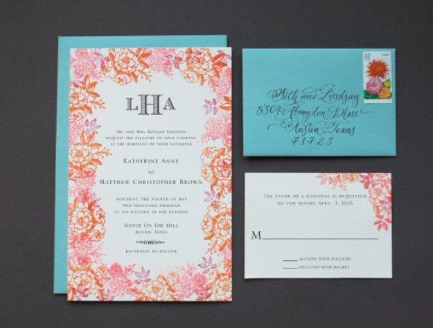 DIY Wedding Invitiations - Rubber Stamp Floral Wedding Invitations - Templates, Free Printables and Wording   Tutorials for Unique, Rustic, Elegant and Vintage Homemade Invites #weddinginvitations #diyweddings