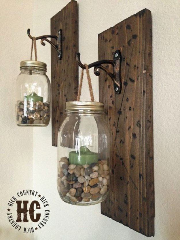 Mason Jar Lights - Rustic DIY Mason Jar Wall Lanterns - DIY Ideas with Mason Jars for Outdoor, Kitchen, Bathroom, Bedroom and Home, Wedding. How to Make Hanging Lanterns, Rustic Chandeliers and Pendants, Solar Lights for Outside