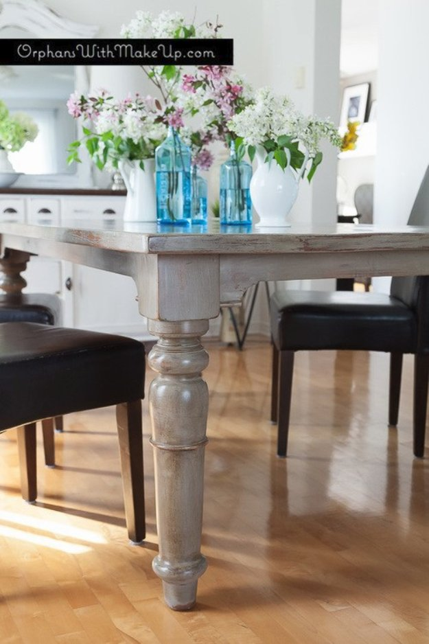 DIY Chalk Paint Furniture Ideas With Step By Step Tutorials - Rustic Dining Table Finish - How To Make Distressed Furniture for Creative Home Decor Projects on A Budget - Perfect for Vintage Kitchen, Dining Room, Bedroom, Bath #diyideas #diyfurniture