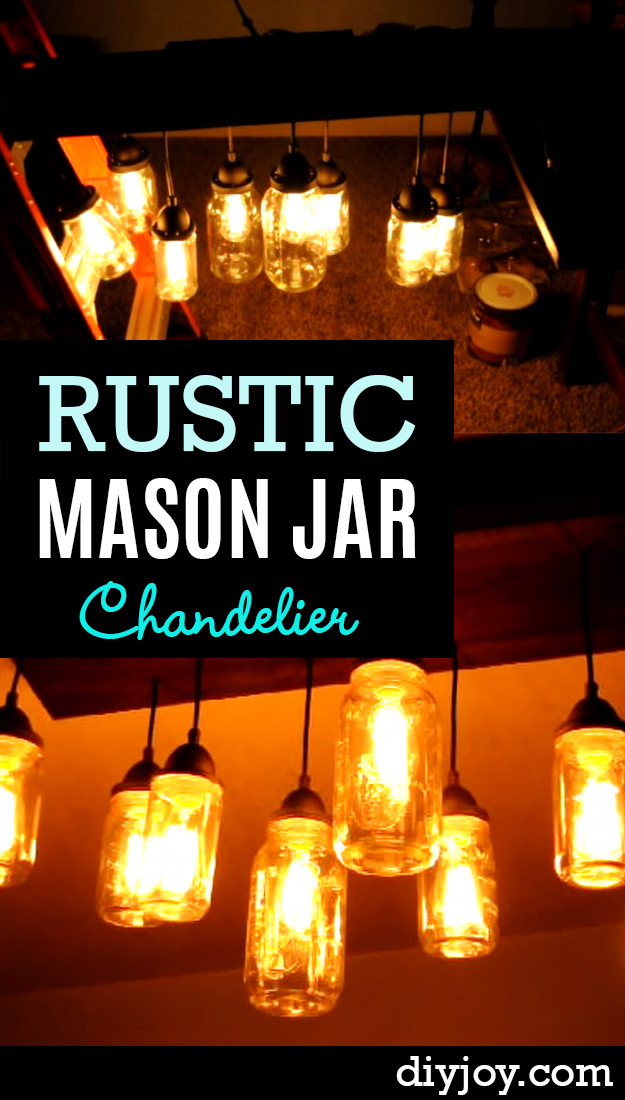 Mason Jar Lights - Rustic Mason Jar Chandelier  - DIY Ideas with Mason Jars for Outdoor, Kitchen, Bathroom, Bedroom and Home, Wedding. How to Make Hanging Lanterns, Rustic Chandeliers and Pendants, Solar Lights for Outside