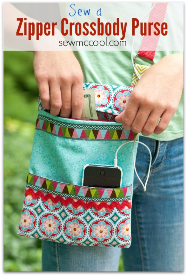 Simple and Quick Sewing Projects to Sell - How to Sew a Zipper Crossbody Purse - DIY Sewing Ideas for Your Craft Business. Make Money with these Simple Gift Ideas, Free Patterns #sewing #crafts