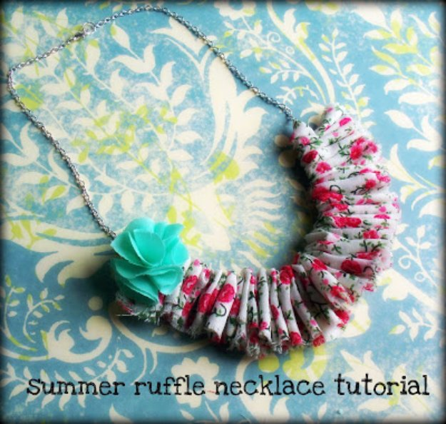 Cool Crafts You Can Make With Fabric Scraps - Shabby Chic Ruffle Necklace - Creative DIY Sewing Projects and Things to Do With Leftover Fabric Scrap Crafts #sewing #fabric #crafts