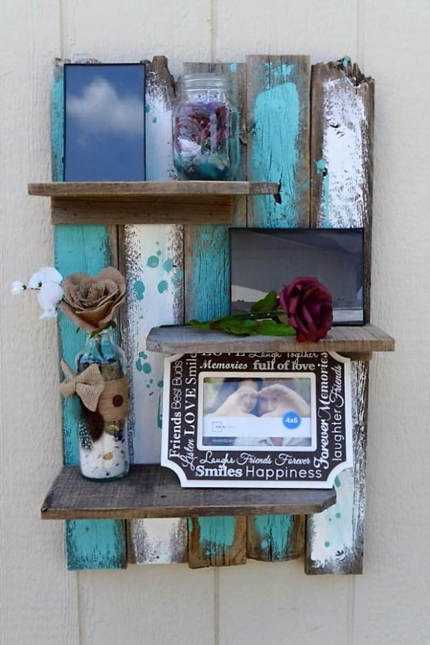 DIY Pallet Furniture Ideas - Simple Rustic Pallet Wall Shelf - Best Do It Yourself Projects Made With Wooden Pallets - Indoor and Outdoor, Bedroom, Living Room, Patio. Coffee Table, Couch, Dining Tables, Shelves, Racks and Benches