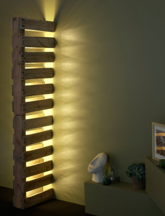 DIY Pallet Furniture Ideas - Simple Wall Pallet Lamp - Best Do It Yourself Projects Made With Wooden Pallets - Indoor and Outdoor, Bedroom, Living Room, Patio. Coffee Table, Couch, Dining Tables, Shelves, Racks and Benches