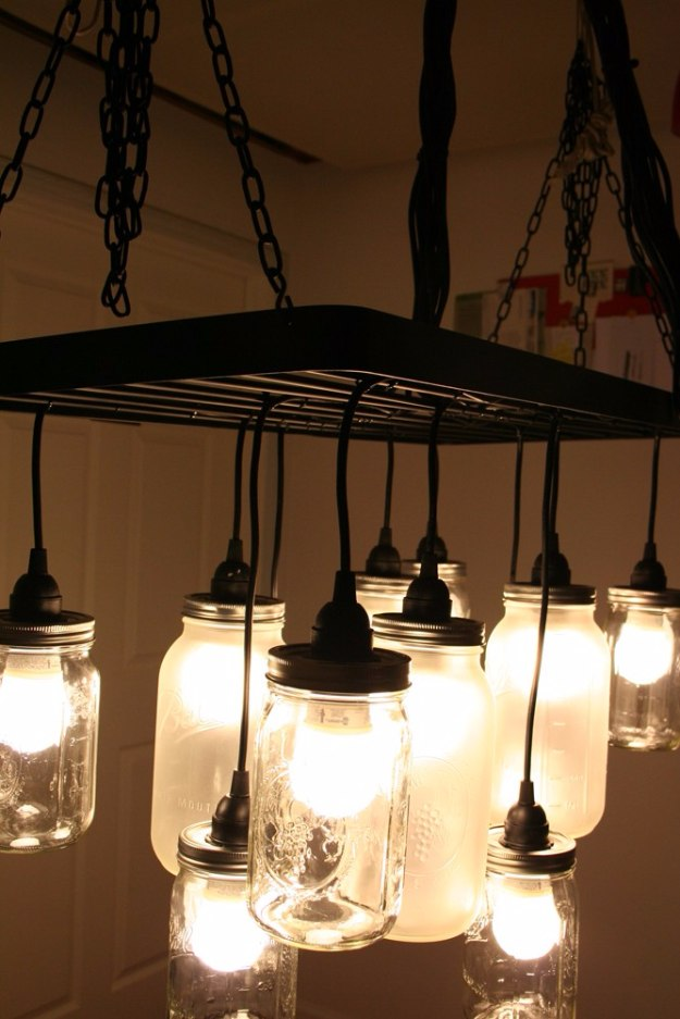 Mason Jar Lights - Southern Charm Mason Jar Chandelier - DIY Ideas with Mason Jars for Outdoor, Kitchen, Bathroom, Bedroom and Home, Wedding. How to Make Hanging Lanterns, Rustic Chandeliers and Pendants, Solar Lights for Outside http://diyjoy.com/diy-mason-jar-lights-lanterns