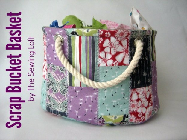 Cool Crafts You Can Make With Fabric Scraps - Stackable Scrap Bucket Bag - Creative DIY Sewing Projects and Things to Do With Leftover Fabric Scrap Crafts #sewing #fabric #crafts