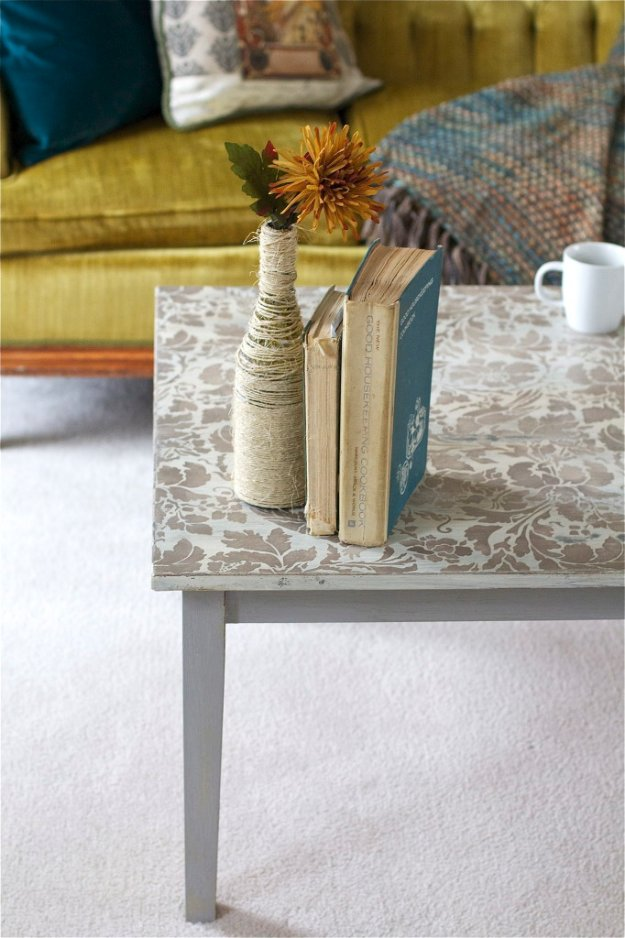 DIY Chalk Paint Furniture Ideas With Step By Step Tutorials - Stenciled Coffee Table - How To Make Distressed Furniture for Creative Home Decor Projects on A Budget - Perfect for Vintage Kitchen, Dining Room, Bedroom, Bath #diyideas #diyfurniture