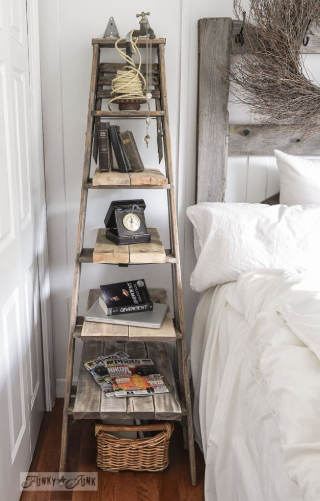 Brilliant DIY Decor Ideas for The Bedroom - Step Ladder Side Table - Rustic and Vintage Decorating Projects for Bedroom Furniture, Bedding, Wall Art, Headboards, Rugs, Tables and Accessories. Tutorials and Step By Step Instructions