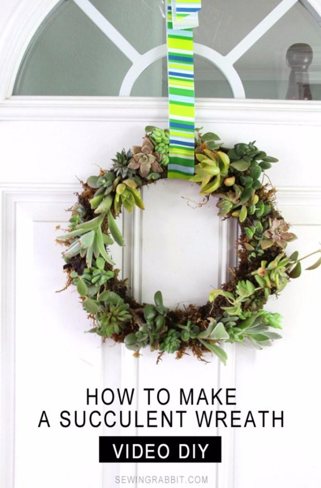 Succulents Crafts and DIY Projects - Succulent Wreath - How To Make Fun, Beautiful and Cool Succulent Cactus Wedding Favors, Centerpieces, Mason Jar Ideas, Flower Pots and Decor http://diyjoy.com/diy-ideas-succulents-crafts