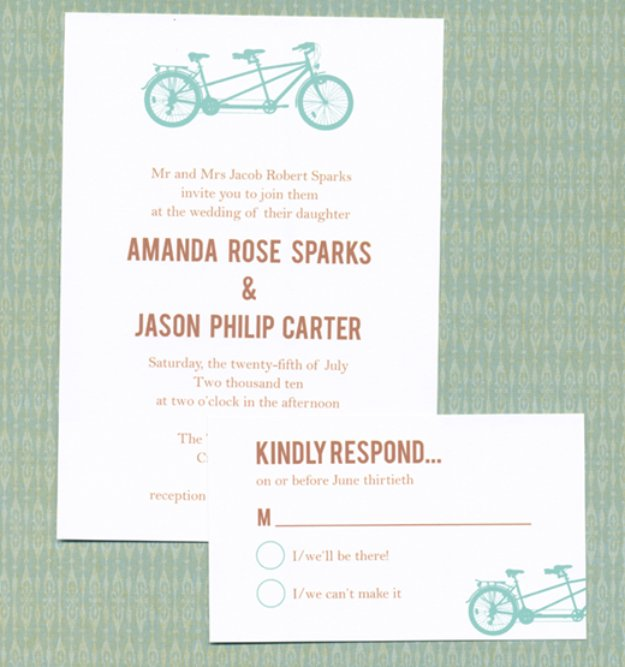 DIY Wedding Invitiations - Tandem Bike Wedding Invitation - Templates, Free Printables and Wording   Tutorials for Unique, Rustic, Elegant and Vintage Homemade Invites #weddinginvitations #diyweddings